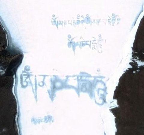 西藏雪山上的神秘文字