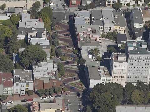 美国旧金山九曲花街:世界上最弯曲的街道