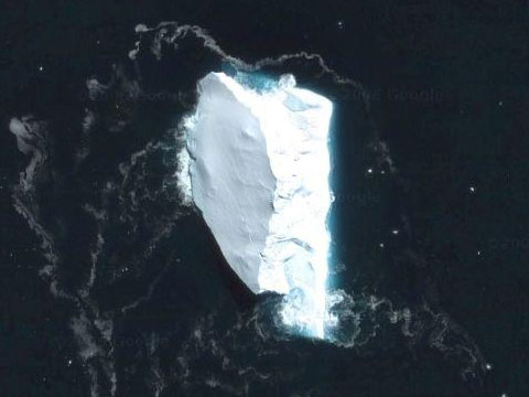 Google Earth下的南极冰山