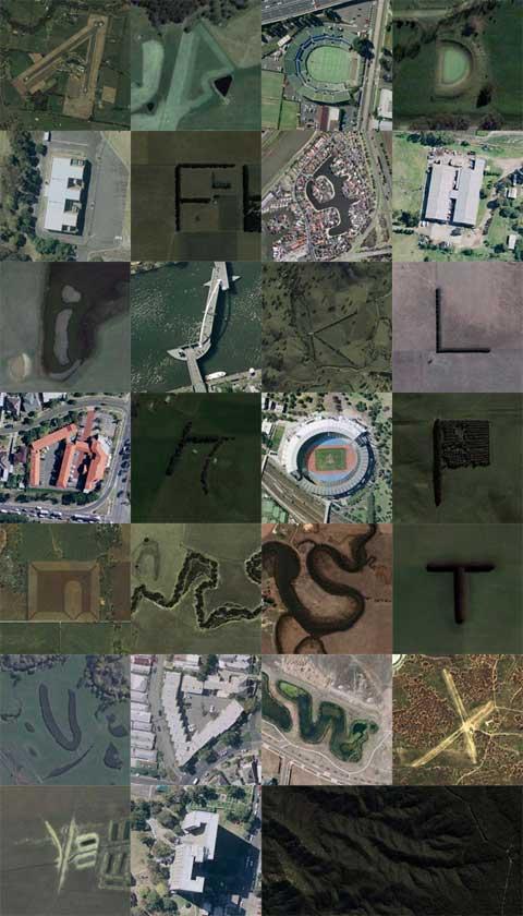 Google Earth卫星照片下的英文字母