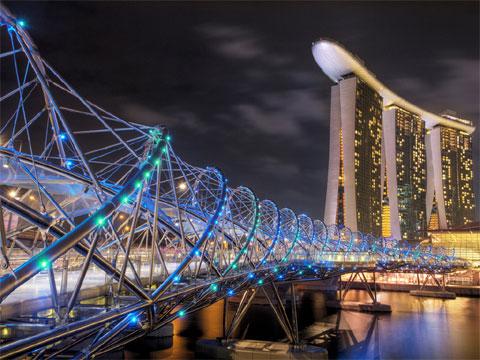 新加坡滨海湾:双螺旋桥
