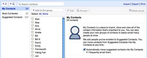 Gmail通讯簿联系人管理