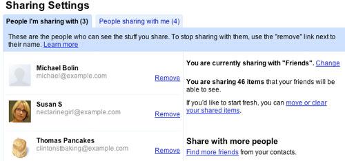 Google Reader好友设置界面