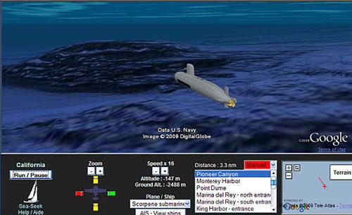 Google Earth的模拟海底潜水艇