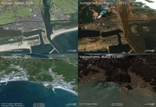 谷歌发布日本震后卫星地图