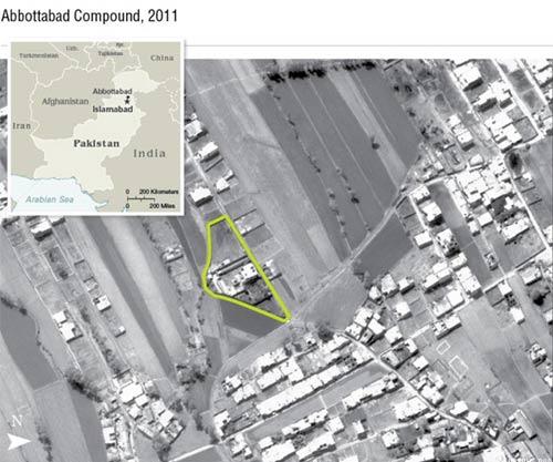 拉登被击毙时所藏身的三层豪宅卫星地图