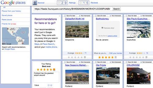 Google Places支持导入Foursquare等第三方数据