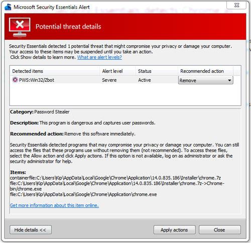 微软安全软件将谷歌Chrome浏览器误报为病毒