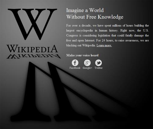 维基百科抗议反盗版法案