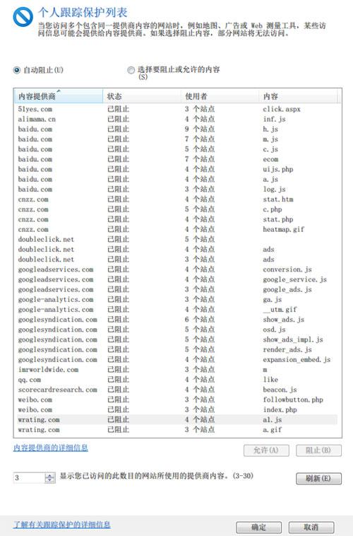 """图2,IE9跟踪保护中的""""个人列表"""""""