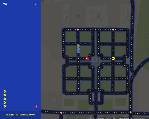 谷歌地图变身吃豆人地图