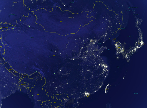 通过Google Earth看全球夜景地图