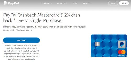 PayPal推出无年费返现信用卡